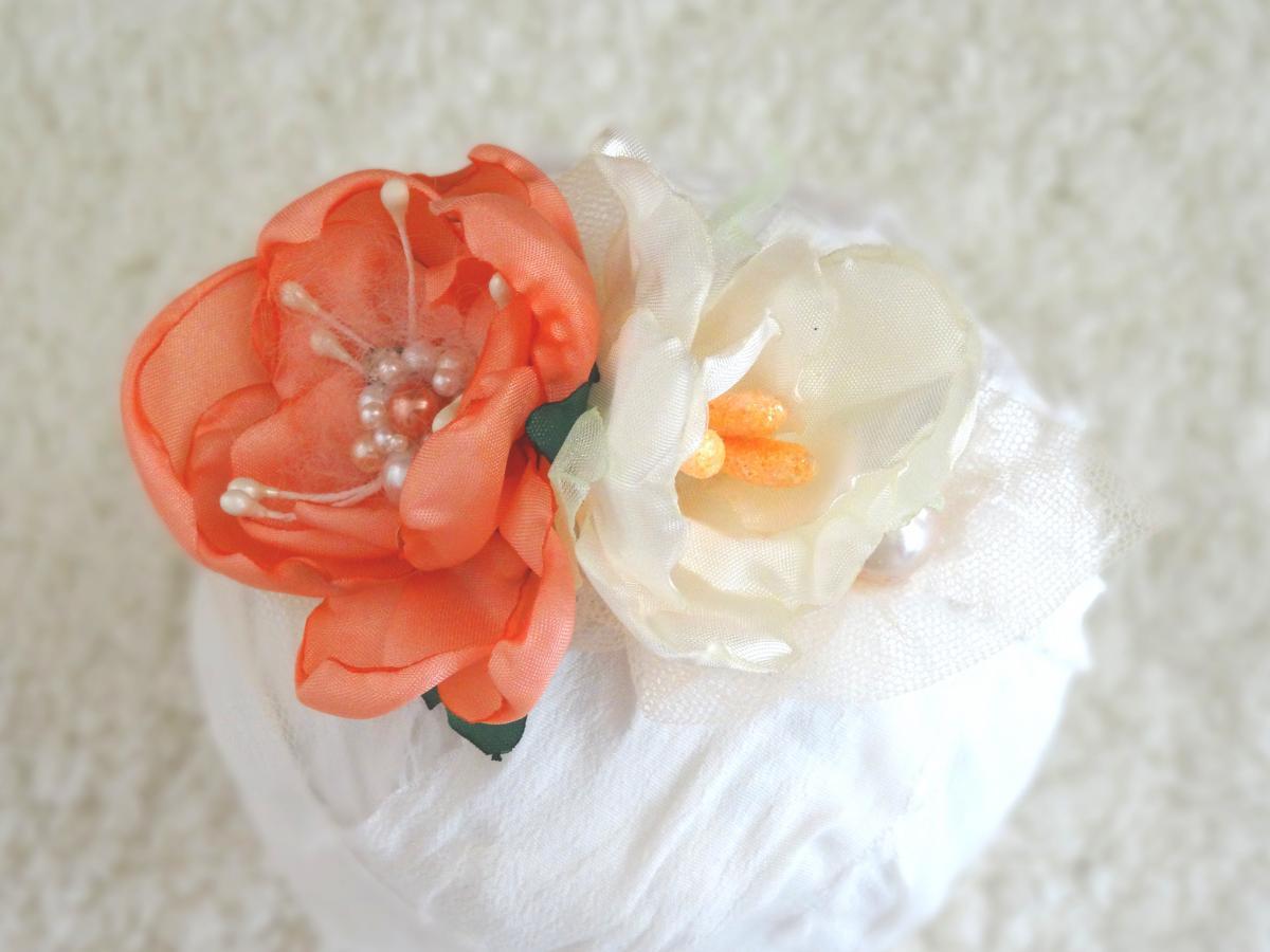 93915b3ed30af Baby Blumen Haarband Apricot weiß Stirnband Taufe Babyfotografie. 1  2