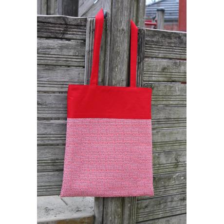 Tote bag Dots, red and white with lining and pocket