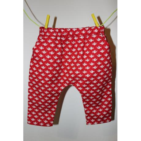 Baby pants Summer at the Seaside, size 74, handmade