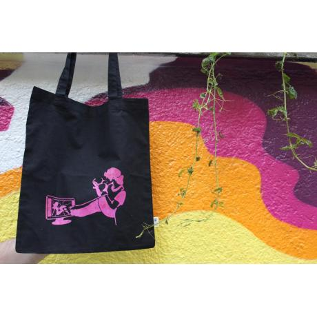 Tote bag Fight lookism, pink edition, hand-printed