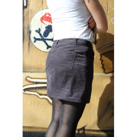 Gray cord mini-skirt, size S, single-piece, handmade
