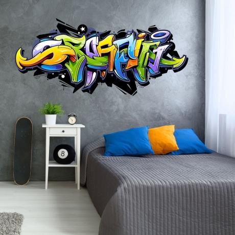 158 Wandtattoo Graffiti Bunt Wanddeko Jugendzimmer Teenager